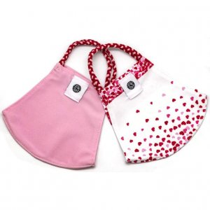 Face Mask 2 Pack - Hearts and Pink Solid