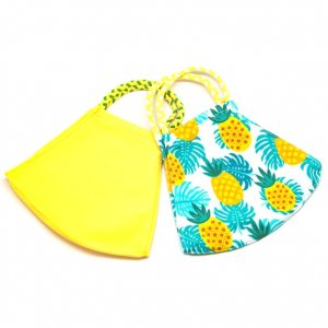 Face Mask 2 Pack - Pineapple Print and Yellow Solid